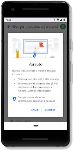Schermata su dispositivo mobile che mostra la funzionalità di Google per la disattivazione degli annunci