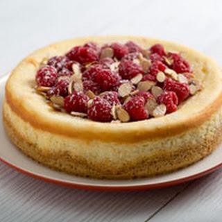 Philadelphia Almond Cheesecake with Raspberries.