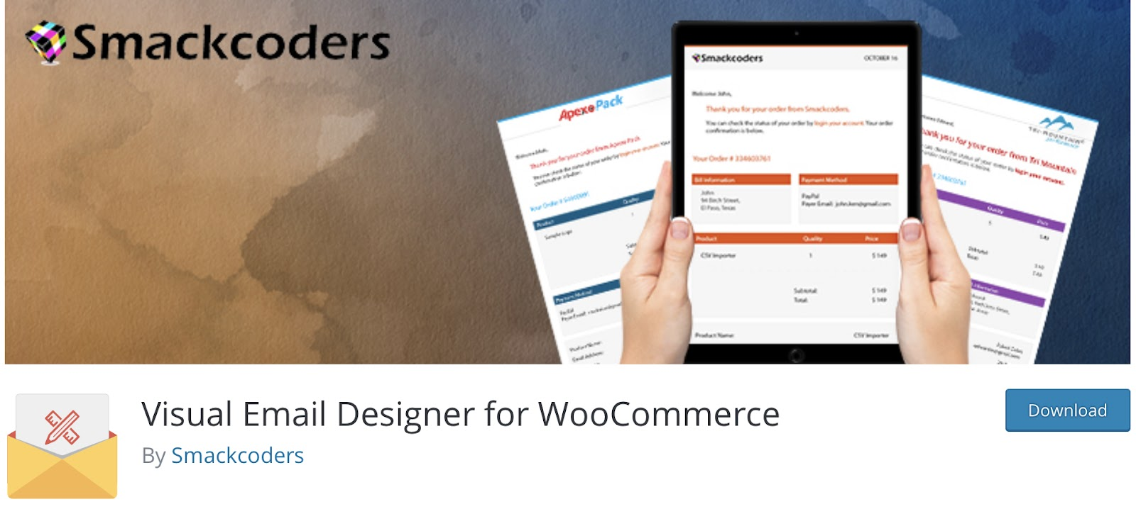 Visual Email Designer for WooCommerce by Smackcoders