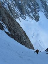 Photo: Climbing up Amone SW Couloir