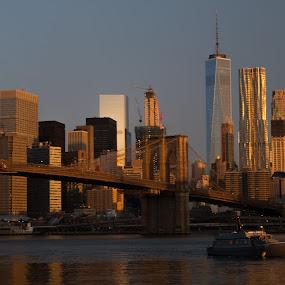 Brooklyn Bridge and WTC by Logan Knowles - City,  Street & Park  Skylines ( brooklyn bridge, skyline, new york skyline, new york city, nyc, boat )