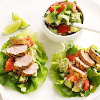 Tex-Mex lettuce cups with avocado and tomato salsa