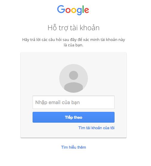 nhập email cần khôi phục