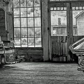 A Shave and a Beer by Twin Wranglers Baker - Black & White Buildings & Architecture (  )