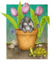 Photo: Bunny in Terra Cotta Pot :: Digital Illustration by Kim Buchheit