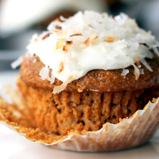 Healthy Whole Grain Carrot Coconut Morning Glory Muffins.