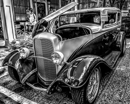 B & W Classic Car. by Dave Walters - Black & White Street & Candid ( cars, street scene, b & w, topaz studio, transportation )