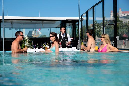 Enjoy one of the few swim-up bars on a river cruise ship aboard AmaViola.