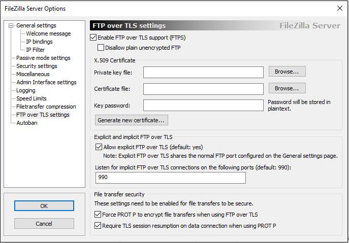 Activar el modo FTP sobre TLS
