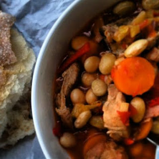 Comforting Borlotti Beans Stew with pork belly and smoked paprika.