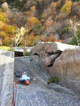 Photo: Thin stemming near the crux of pitch 3 (5.10) of Aerie