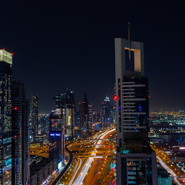 Blue Hour Traffic by Ansari Joshi - City,  Street & Park  Skylines ( burj khalifa, uae, nightscape, cityscape, long exposure, night scene, blue hour, street photography, dubai, landscape, traffic,  )