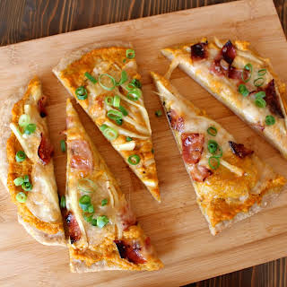 Apple Bacon Pizza with Pumpkin Sauce.