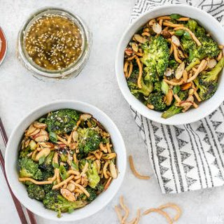 Roasted Broccoli Salad with Almonds and Simple Sesame Dressing.