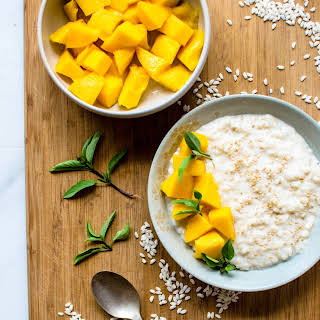 Thai Basil-Infused Coconut Rice Pudding with Mango.