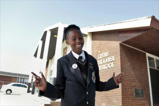 MULTILINGUAL: Laerskool Grens' Grade 7 Xhosa pupil, Mbalentle Xongo, has the gift of the gab – in Afrikaans Picture: MARK ANDREWS