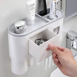 Suport 2 pahare magnetice si dispenser pasta de dinti cu 4 periute