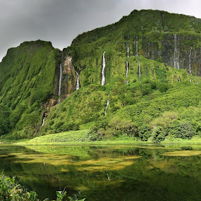 Poço da Alagoinha, Flores island, Azores by Tadas Jucys - Landscapes Mountains & Hills ( lush, green, majestic, waterfall, travel, panorama, azores, island, sky, flores, poço da alagoinha, falls, light, hike, panoramic,  )