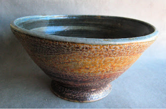 Photo: salt fire serving bowl. It was painted with my pigment colored slips, and then salt fired.