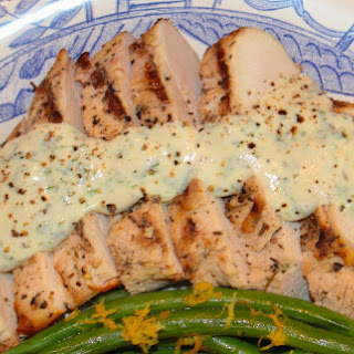 Grilled Marinated Chicken Breasts With Herbes De Provence Served With Lemon-dijon-crème Fraîche Sauce.