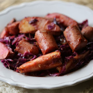 Crock Pot Kielbasa with Red Cabbage and Apples.