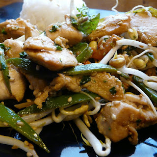 Chicken and Vegetable Stir-Fry with Lemongrass, Cilantro, and Sesame Seeds.