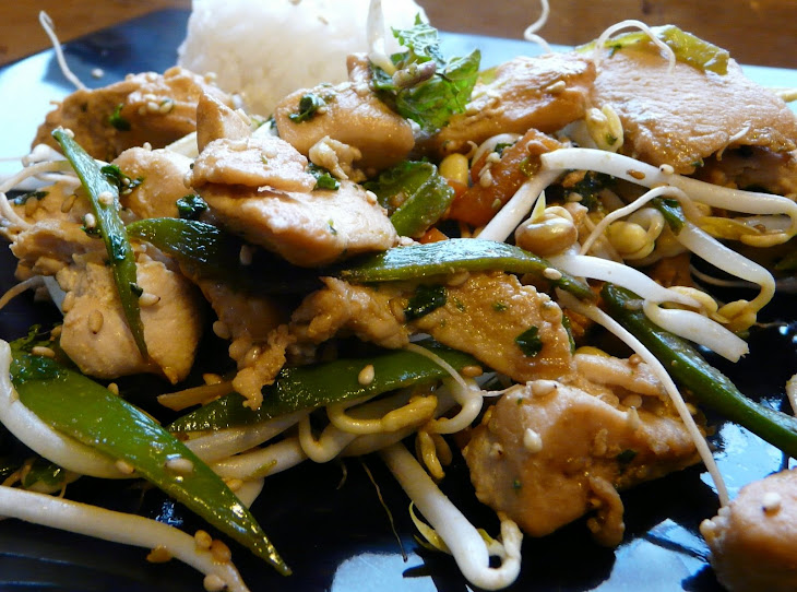 Chicken and Vegetable Stir-Fry with Lemongrass, Cilantro, and Sesame Seeds Recipe