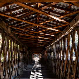 Town Lattice Truss Design in covered bridge by Jackie Nix - Buildings & Architecture Bridges & Suspended Structures ( geometric shapes, covered bridge, appalachia, trusses, destination, tourism, interior, design, perspective, diminishing perspective, vacation, day, architecture, historic, alabama, engineering, history, traditional, sunlight, daylight, wooden, lattice, shadows, tourists, travel, landscape,  )