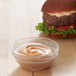 Best Ever Juicy Burger with Creamy Sriracha Sauce.