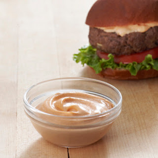 Best Ever Juicy Burger with Creamy Sriracha Sauce.
