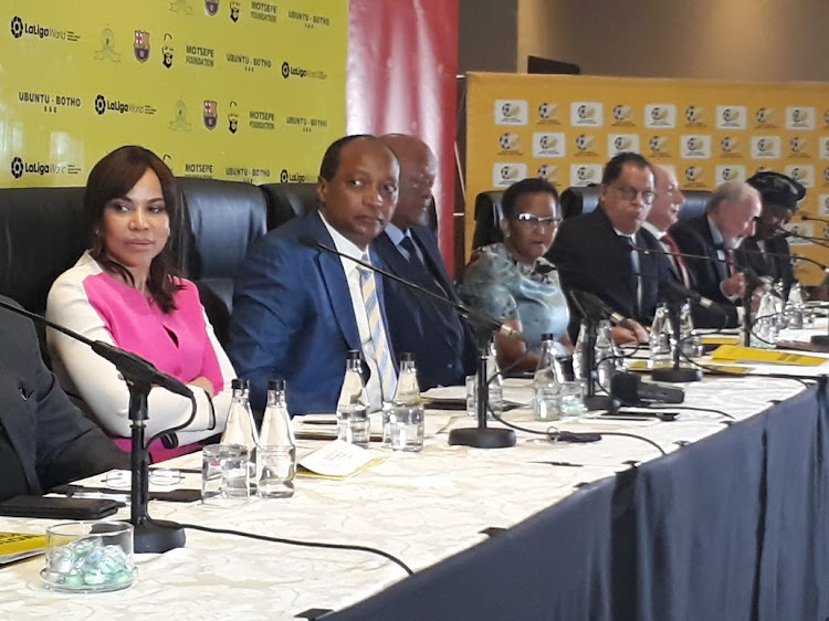 Mamelodi Sundowns President Patrice Motsepe addresses the media in Sandton, Johannesburg, during an announcement that Sundowns will play Spanish champions Barcelona.