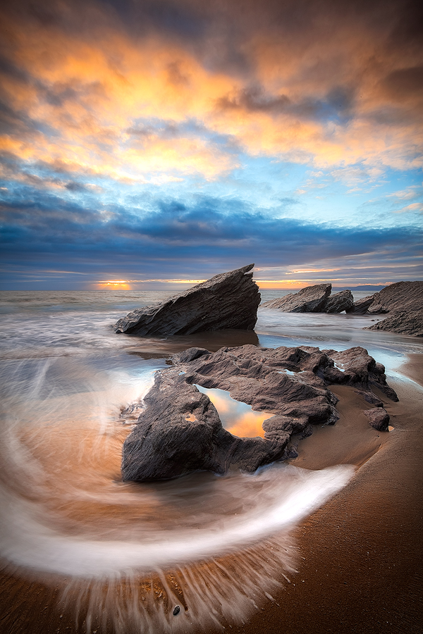 Saline Sweep by Paul Morgan - Landscapes Waterscapes ( whitsand bay, sunset, sea, seascape, rocks, coast, cornwall )