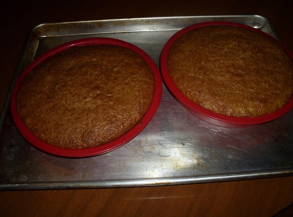 Pre-heat the oven to 350 degrees. To make the cake, mix the ingredients together...