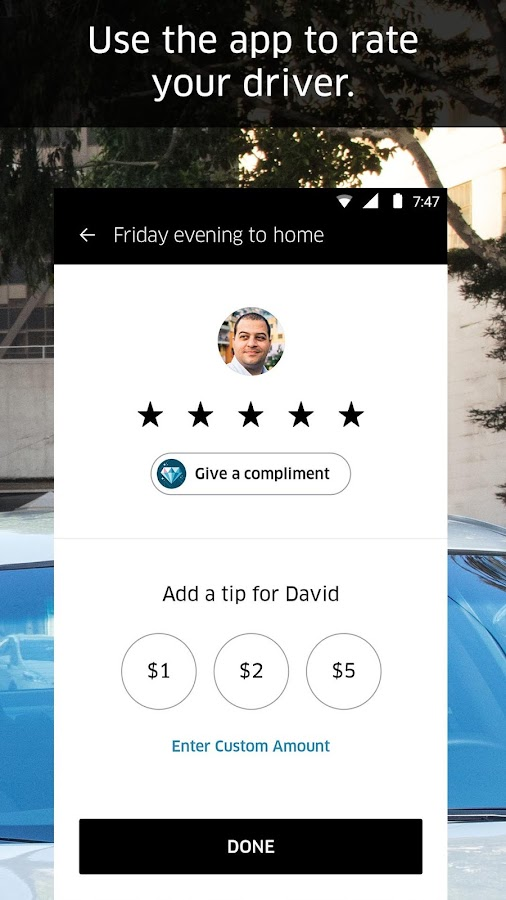 Screenshots of Uber for iPhone