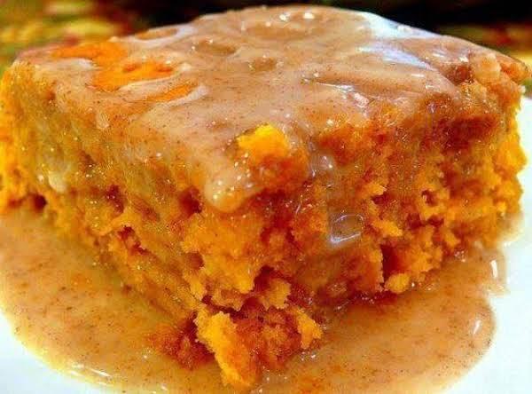 Pumpkin Box Cake With Apple Cider Glaze