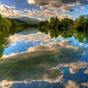 Reflections of clouds in the river Una by Miro Cindrić - Landscapes Waterscapes ( clouds, una, reflection, waterscapes, landscapes, bih, river )