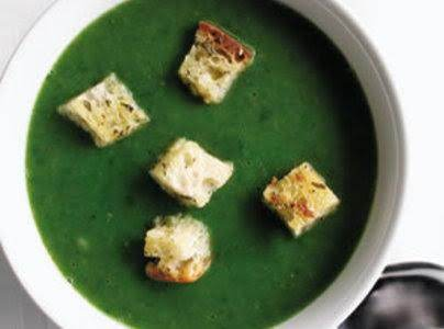 Mozzerella Grilled Cheese Croutons On Spinach Soup