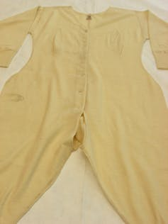 Woollen all-in-one, cream woman's long johns; made in England, date unknown.