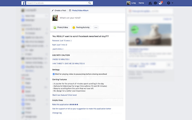 Stop Scrolling Newsfeed for Facebook