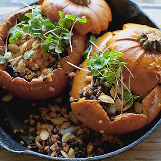 Roasted pumpkins With lentils and fenugreek