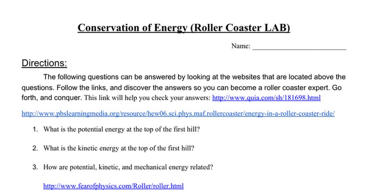 Roller Coaster Energy Worksheet Delibertad – Kinetic Potential Energy Worksheet