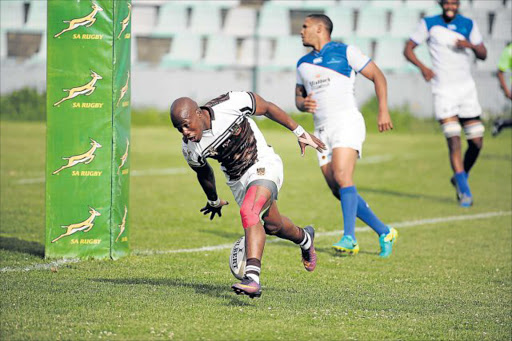 TOUCH DOWN: Border's Siyasanga Ncywanca pictured scoring against the Welwitschias at Buffalo City Stadium last Saturday will have to be at his best against the Griffons in Welkom Picture: MARK ANDREWS