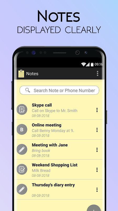 Notes with Caller ID screenshots