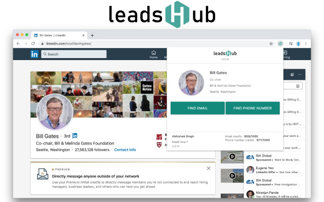 Leadshub : Reach your prospects in one click