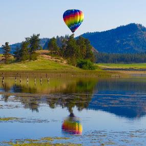 Robert Lake, Kelowna, BC by Nick Swan - Landscapes Waterscapes ( reflection, robert lake, kelowna, balloon, bc, rainbow colours )
