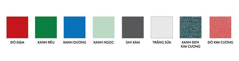 Bảng màu tôn phổ biến hiện nay
