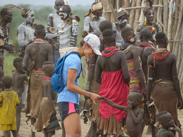 YiOu meets members of the Kara tribe in the Omo Valley, Ethiopia