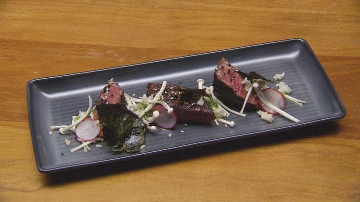 Sesame Glazed Beef with Wasabi and Shallot Relish, Chilli Nori Salt and Sake Radishes Recipe