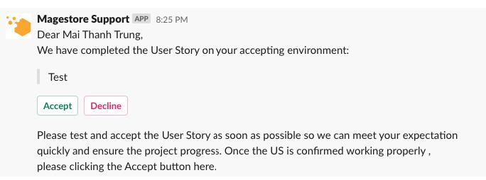 Magestore acceptance request on Slack