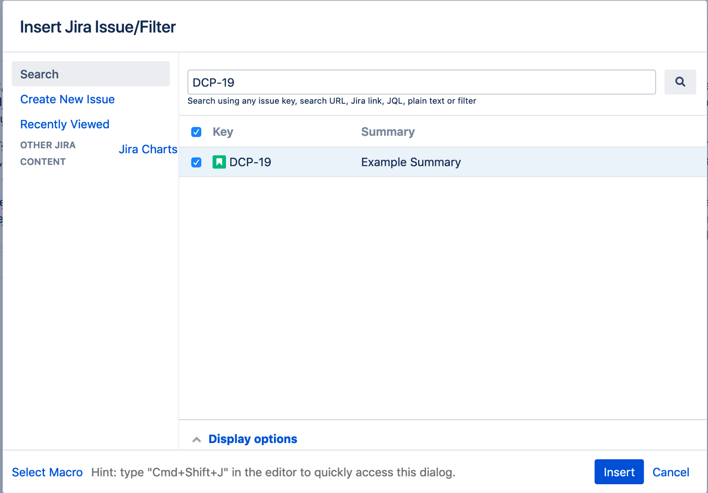 Jira issue display options